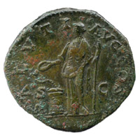 Reverse of a roman sestertius of Emperor Marcus showing Salus standing right feeding a snake