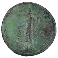 Reverse of a sestertius of Emperor Trajan showing Fortuna standing left
