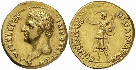 Gold aureus of Emperor Vitellius